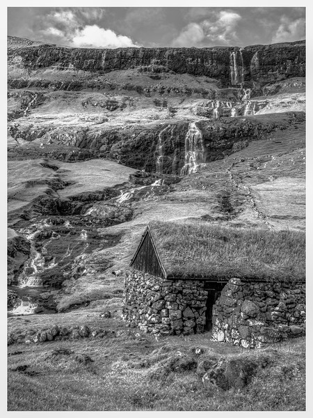 Faroe Waterfall 3   Black and White Photography by Wayne Heim