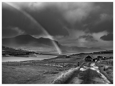Faroe Rainbow 2   Black and White Photography by Wayne Heim