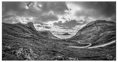 Road to the Sea in Faroes    Black and White Photography by Wayne Heim