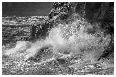 Crash Waves in Faroe Islands   5   Black and White Photography by Wayne Heim