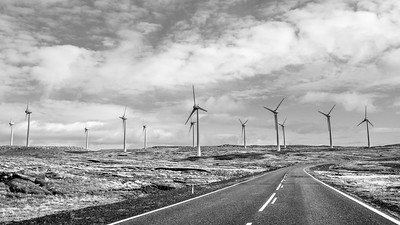 Faroe Wind Power    Black and White Photography by Wayne Heim