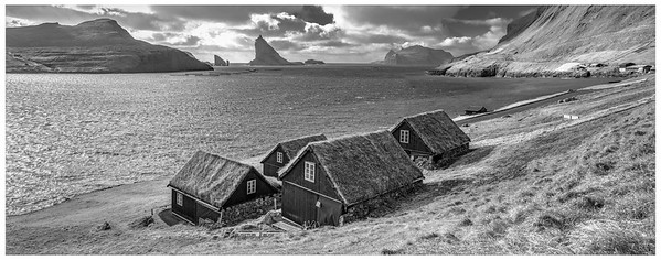Faroe Coast with Houses    Black and White Photography by Wayne Heim
