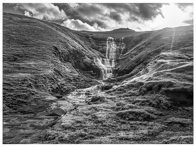Faroe Waterfall  4     Black and White Photography by Wayne Heim