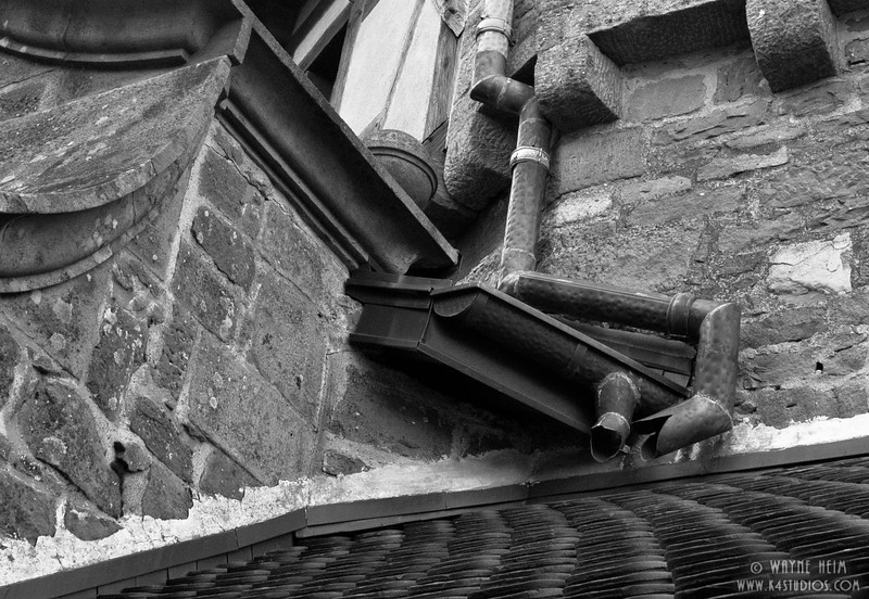 Down Spouts and Gutters  black and White Photography by Wayne Heim