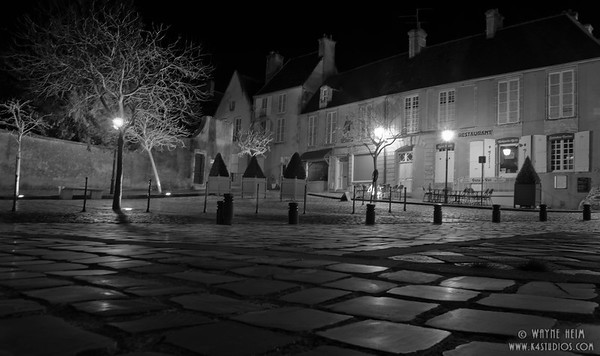 Paris Street at Night 2  black and White Photography by WayneHeim