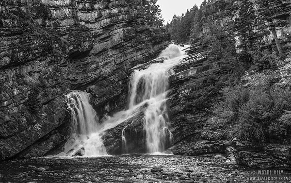 Montana Waterfall  Black & White Photography by Wayne Heim