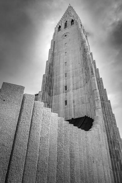 Hallgrimskirkja  Black & White Photography by Wayne Heim