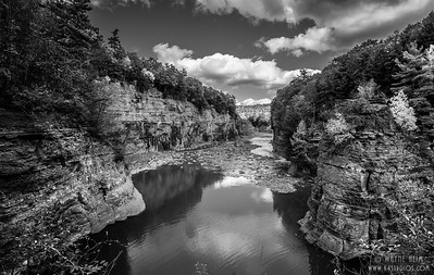 Long View of Letchworth Canyon   Black & White Photography by Wayne Heim