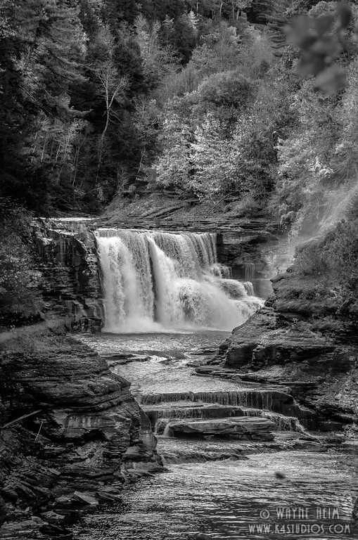 One Falls in Letchworth  Black & White Photography by Wayne Heim