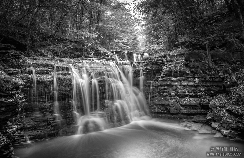 Falls in the Glen - Black & White Photography by Wayne Heim