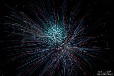 Blue Fireworks - Photography by Wayne Heim