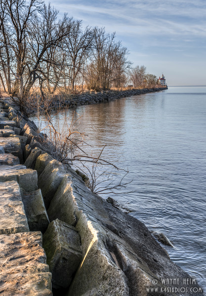 Seawall in Fairport.  Photography by Wayne Heim