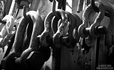 Rigging Connectors -- Black & White Photography by Wayne Heim