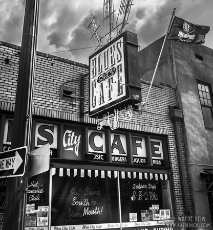 Blues Cafe - Black & White Photography by Wayne Heim