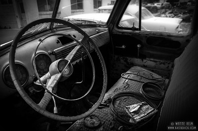 Old Front Seat - Black & White Photography by Wayne Heim