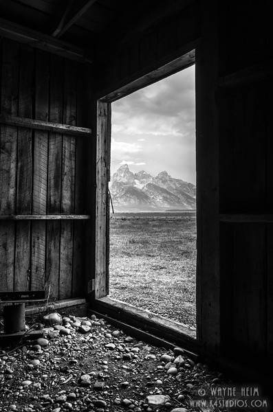Tetons Peek - Black & White Photography by Wayne Heim