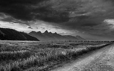 Wyoming Road - Black  & White Photography by Wayne Heim