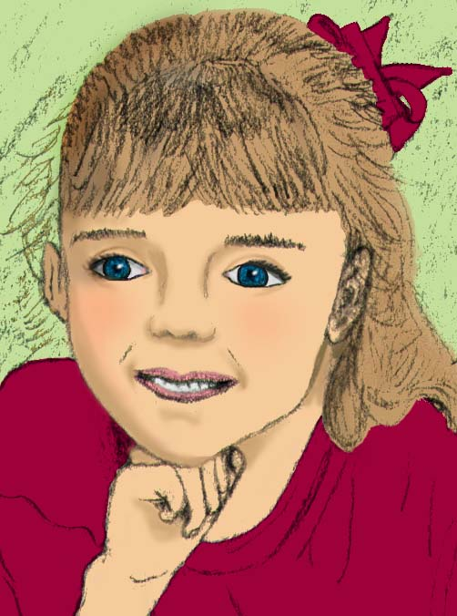 This is a sketch from a photograph of my niece.  I colorized it in Photoshop.