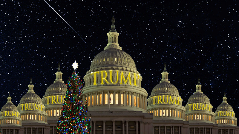 Jerry Stelmack was in DC the week before Christmas and captured the Capitol Building free of scaffolding. He took the liberty of adding the Trump graphic. I added the extra touch.