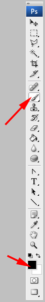 In the Tool palette, select the brush tool. At the same time press the <i>D</i> key to set the foreground and background colors to black and white, respectively.