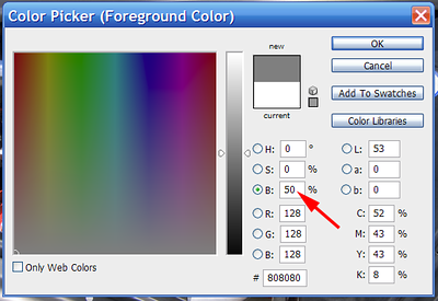 "One more note:  If you do something you don't like to your dodge & burn layer you can always undo what you've done by painting the area in question back to 50% gray.  To get 50% gray as the foreground color, just click the foreground color swatch in the tool palette to open the <i>Color Picker</i>. In the color picker simply set the saturation ""S"" value to 0%, and the brightness ""B"" value to 50%."