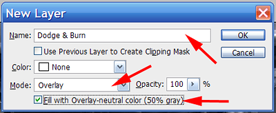 "In the <i>New Layer</i> dialog provide a name for the layer, change the Mode to ""Overlay"" and check ""Fill with Overlay-neutral color (50% gray)""."