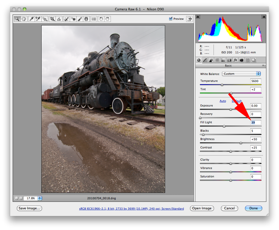 Using the <i>Fill Light</i> adjustment the darker areas are lightened up and moves the histogram away from the left edge.