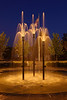 The fountain at Jasper's new Central Green park on a warm August evening provides a soothing waterfall sound and very pleasing illumination under old-time street light lighting.  It is a great place to hang out for an hour at dusk.