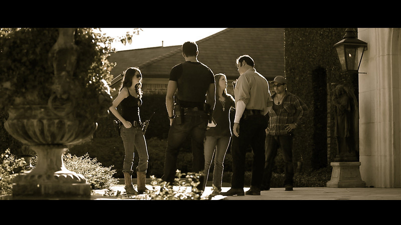 "On set of ""The Legend of Darkhorse County"" ft. Lee Majors & ChaChi Gonzales<br /> Me, far left, as Jaylene Summers (sheriffs assistant)"