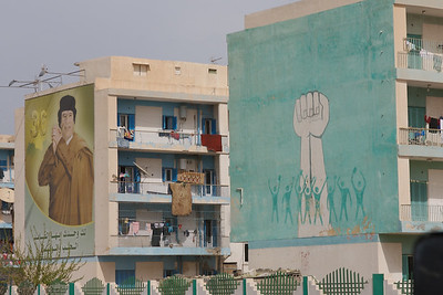 One of many images of Gaddafi in Libya