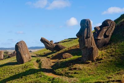 Partially buried Moai near the Rano Raraku quarry