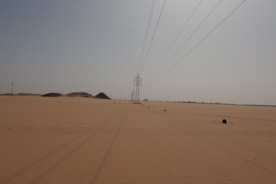Libyan p[ower lines in the Sahara