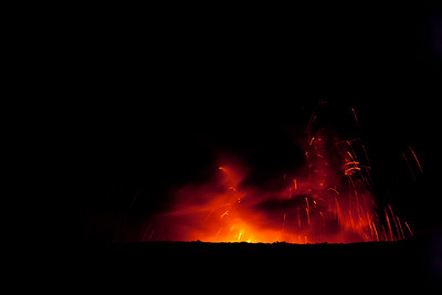 Lava fountain from a Pu'u O'o lava tube of the Kilauea volcano