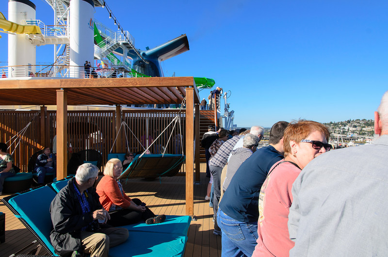 When it was time for sail away, lots of people came to the Serenity deck. This was the busiest we ever saw it the entire cruise.