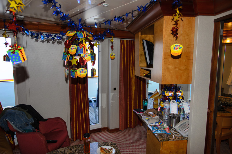 Since we were celebrating my wife's birthday on the cruise, I had ordered the birthday decorations, and they were all setup for us when we entered our room for the first time. This was very exciting!