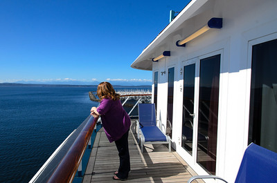 Standing on the balcony of room 8268 on the Carnival Spirit, with the Puget Sound in the background. This balcony is enormous!