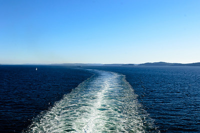 The wake trail left by the Carnival Spirit as we sailed through the Puget Sound after departing Seattle, WA.
