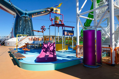 This is the water works splash zone on deck 10 of the Carnival Spirit. I only saw this in action on the day we left Seattle. All of the other days I assume it was too cold, and there were too few kids on this sailing to enjoy it.