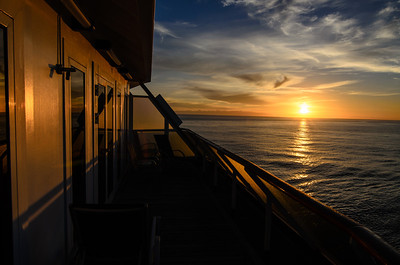 The sun was quickly setting as we sailed north of Seattle, WA in the Puget Sound. This photo was taken from the balcony of our room on the Carnival Spirit.