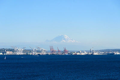 Mt. Rainier near Seattle, WA as viewed from the Serenity deck on board the Carnival Spirit docked at Pier 91, preparing to sail away.