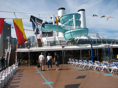 Joe and Dad checking out the welcome drinks on the Lido deck.