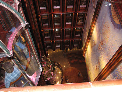 Looking down to the lobby from deck 9 on the Carnival Spirit