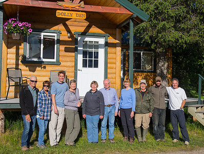 Our group in front ot one of the adjacent cabins. From the right is Ron (our tour leader), Oliver (son of the lodge owner), and Rick (our bear guide). The rest of our group consists of Lynne, Brad, Linda, Debbie, Steve, Paula, and me.