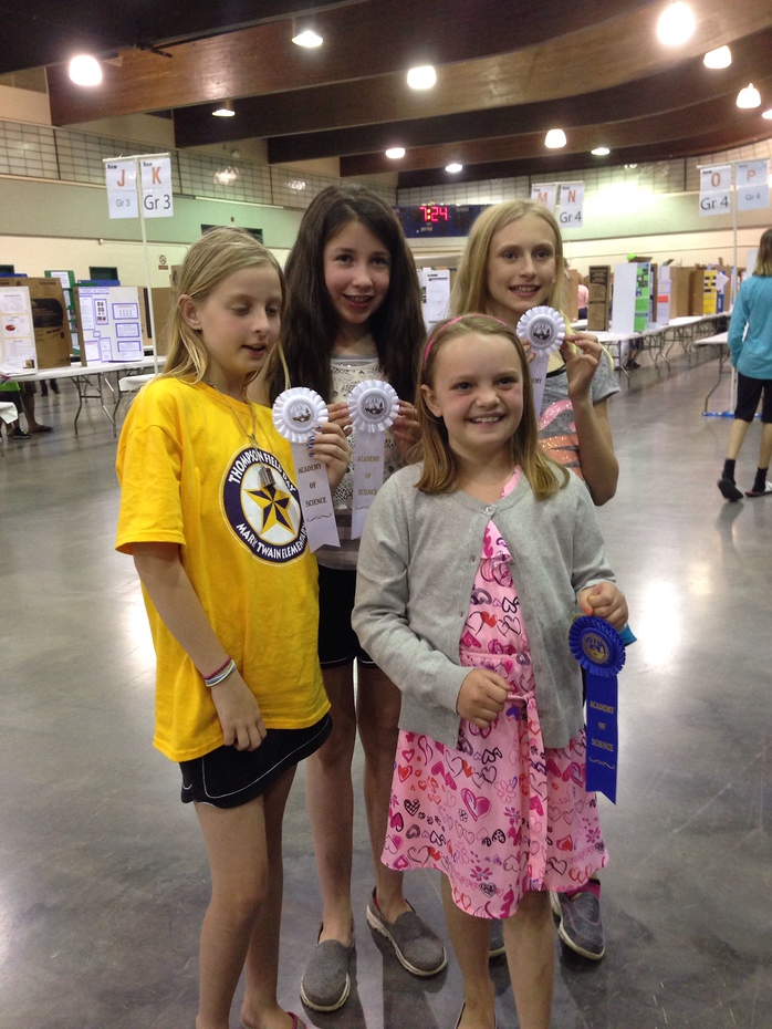 Amelia won a blue ribbon at the regional St. Louis Science Fair!!