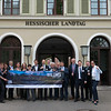 Representatives from different conservation organisations holding up a banner. Parlamentarischer Abend, Hessen - Land der Naturwälder, Hessischer Landtag. Wiesbaden, Hessen, Germany. © Daniel Rosengren