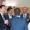 Oliver Conz (HGON, left) Manuel Schweiger mingling at the Parlamentarischer Abend, Hessen - Land der Naturwälder, Hessischer Landtag. Wiesbaden, Hessen, Germany. © Daniel Rosengren