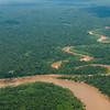 An aerial photo of the rivers and rain forest near Puerto Maldonado. © Daniel Rosengren