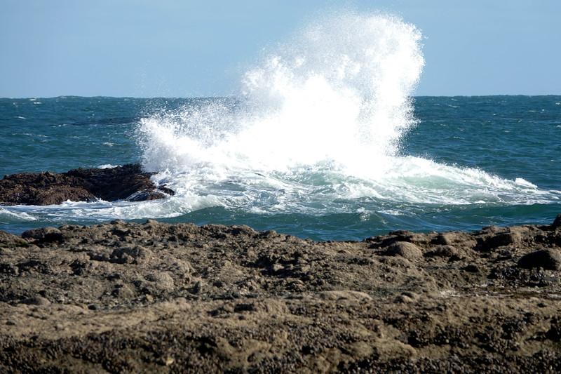 Huge waves crashing in Laguna Beach