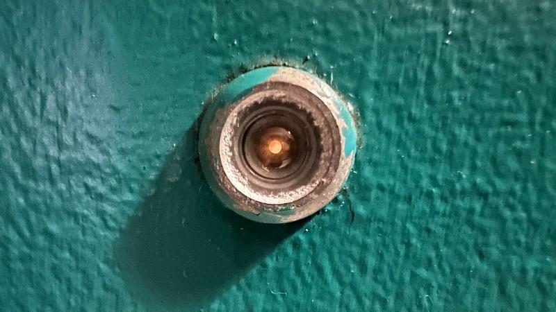 Macro closeup of peephole