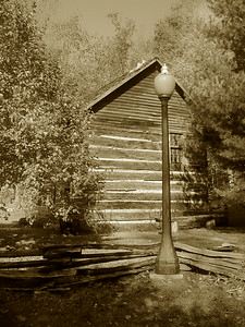 SEPIA LAMP POST,SPRING MILL STATE PARK